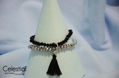 Bracciale cristalli cinesi - Silver/Black
