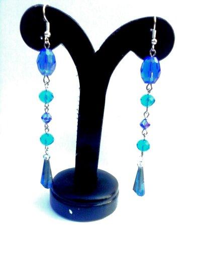 orecchini pendenti cristallo blu azzurro