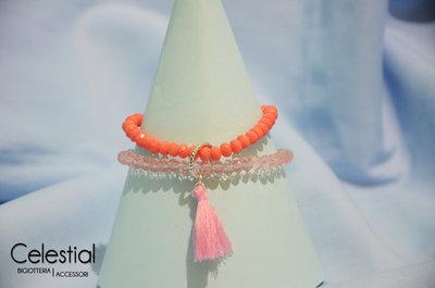 Bracciale cristalli cinesi - Pesca/Rosa