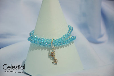 Bracciale cristalli cinesi - Azzurro