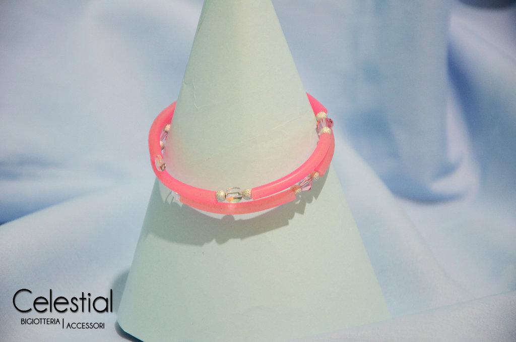 Bracciale spirale caucciù - Rosa