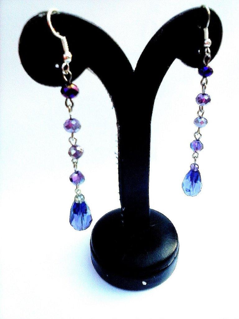 orecchini cristallo viola e color ametista