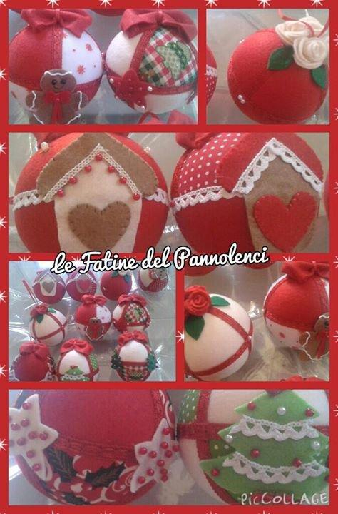 Palline di natale - decorazioni natalizie in pannolenci realizzate a mano