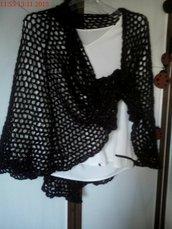 Stola nera in lana mohair