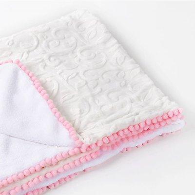 Copertina Pure Pink con Pompon lussuoso regalo per nascita o battesimo