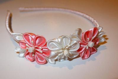Cerchietto con fiori kanzashi fatti a mano PRIMAVERA
