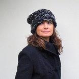 Cappello per donna in lana bouclè, accessori moda donna autunno inverno Stile italiano Grigio melange