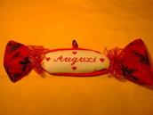 Fiocco caramella strenna natalizio rosso