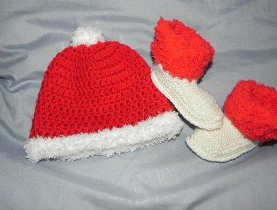 Stivaletti e cappellino BABBO NATALE rosso e bianco bebè unisex