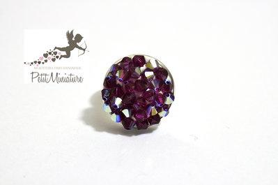 Anello Tempesta di Swarovski -bicono crystal Tecnica Pointiage-Metallo Rodiato-Swarovski Cristal ab-Gioielli