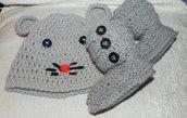 Stivaletti e cappellino gattino bebè unisex misto lana grigio CHIARO stile Ugg