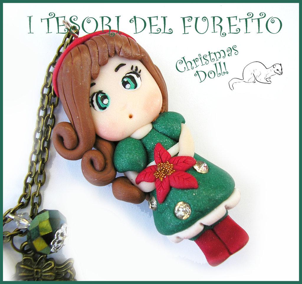 """Collana Natale 2015 """" Christmas Doll """" Veronica abito verde stella Natale rosa fimo cernit premo idea regalo per lei donna ragazza bambina kawaii"""