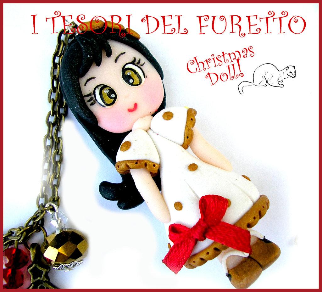 """Collana Natale 2015 """" Christmas Doll """" Stefy abito bianco pois oro  fimo cernit premo idea regalo per lei donna ragazza bambina kawaii"""
