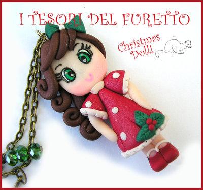 """Collana Natale 2015 """" Christmas Doll """"  Mery abito rosso agrifoglio  fimo cernit premo idea regalo per lei donna ragazza bambina kawaii"""