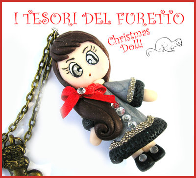 "Collana Natale 2015 "" Christmas Doll "" Nina cappottino argento e strass fimo cernit premo idea regalo per lei donna ragazza bambina kawaii"