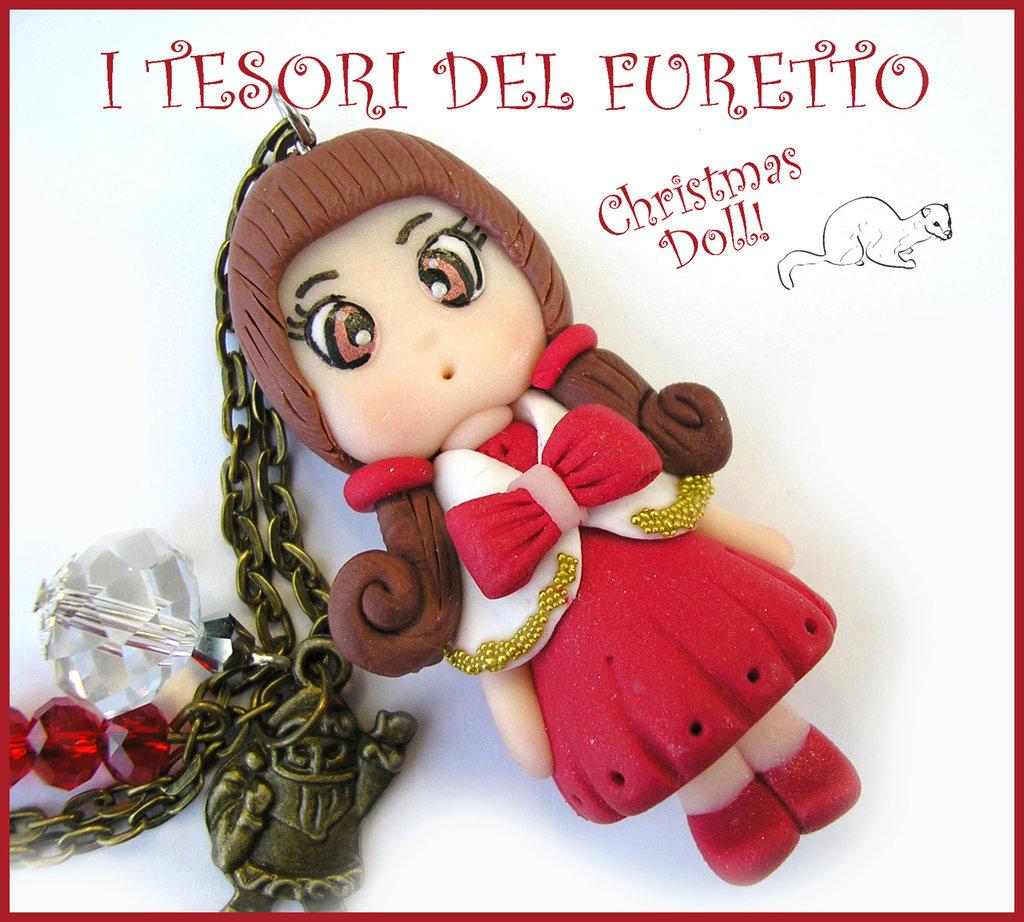 """Collana Natale 2015 """" Christmas Doll """" Polly abito rosso mantellina bianca e fiocco rosso fimo cernit premo idea regalo per lei donna ragazza bambina kawaii"""