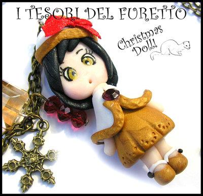 """Collana Natale 2015 """" Christmas Doll """"  Goldie con mantellina bianco oro  fimo cernit premo idea regalo per lei donna ragazza bambina kawaii"""