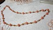 collana lunga con perle in vetro arancioni e swarovski