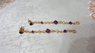 orecchini pendenti in swarovski ametista e dorati
