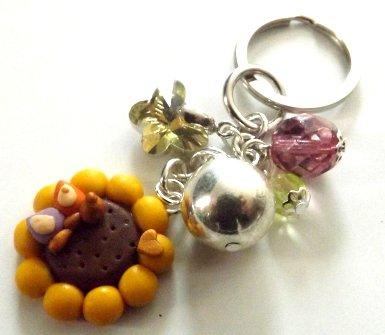 Portachiavi con ciondolo girasole,farfalla e cuore in fimo con perline e ciondolo cristallo idea regalo Natale per lei