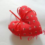 Cuore rosso di stoffa da appendere stile country fatto a mano♥