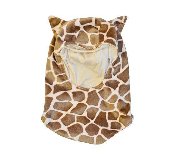 Passamontagna Giraffa con orecchie da animaletto - berrettino e sciarpa in uno.