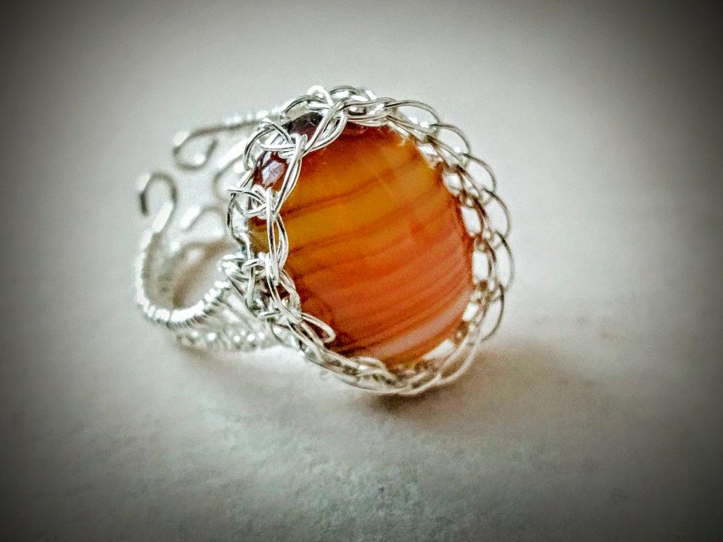 Anello Wire con Agata striata marrone