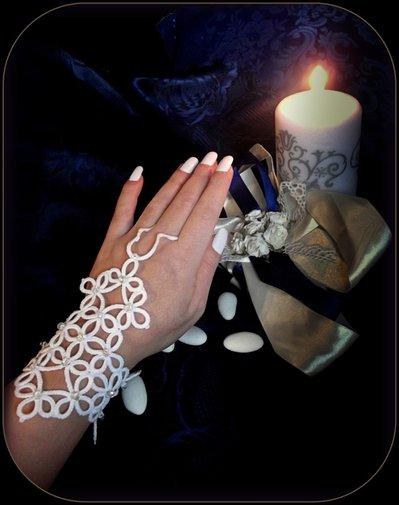 """Bracciale Guanto (Slave Bracelet) """" ERA """" in stile vittoriano di pizzo bianco - chiacchierino"""
