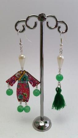 """Orecchini """"Sundry Molds"""" - Japan-Fringe green"""
