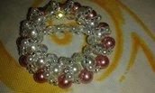 Ferma foulard perle bianche, rosa e corallino argento