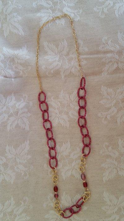 Collana elegante in toni oro/rosa