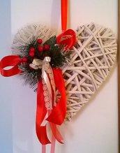 Natale cuore di legno da appendere, fuoriporta, addobbi natalizi, decorazioni