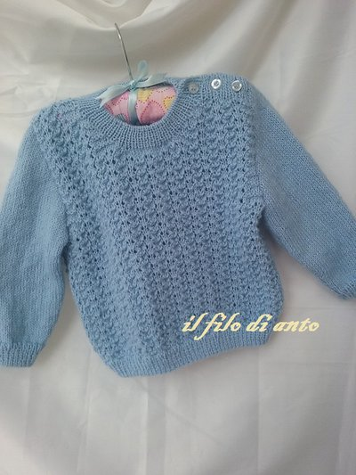 Golfino/ maglia in lana bimbo in azzurro