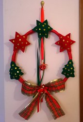 Natale corona per la porta, addobbi natalizi, decorazioni, corona natalizia feltro