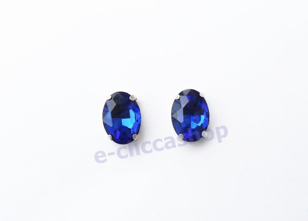pietra vetro ovale con castone  blu