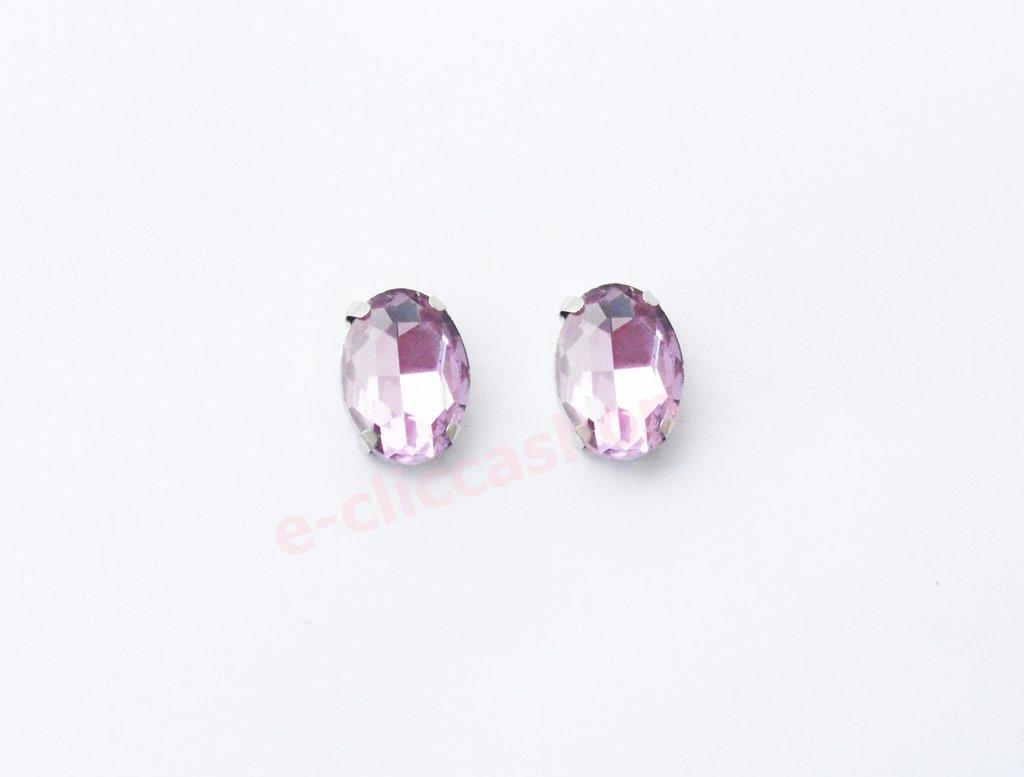 pietra vetro ovale con castone  lilla