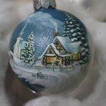 Sfera natalizia dipinta a mano -  Neve e luci di Natale