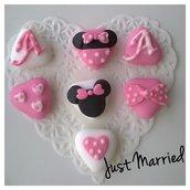 segnaposto primo compleanno, battesimo, bimba, confetti decorati a tema Minnie Mouse