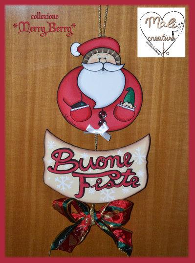 """Collezione """"Merry Berry"""" Natale - Fuoriporta """"Buone Feste"""" con Babbo Natale"""