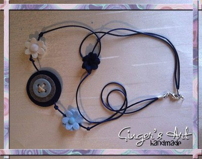 Collana pannolenci e perline blu