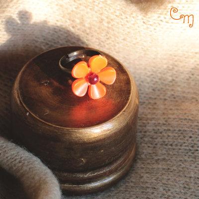 Anello bimba con fiore vintage arancione - A.17.2015