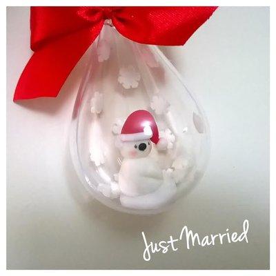 goccia con confetto decorato con orsetto polare, addobbi natalizzi