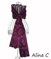 Ghirigoro  Stola in taffeta cangiante ricamato, scialle, bordò e rosa,per occasione elegante o cerimonia