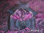 Ghirigoro acconciatura per capelli,fascinator,fermacapelli,moda donna,cerimonia,nero,bordò,rosa,