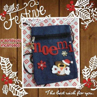 Borsettina bimba in jeans Natale
