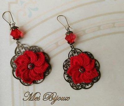 Orecchini moda uncinetto chiacchierino rosso idea regalo natale donna ragazza