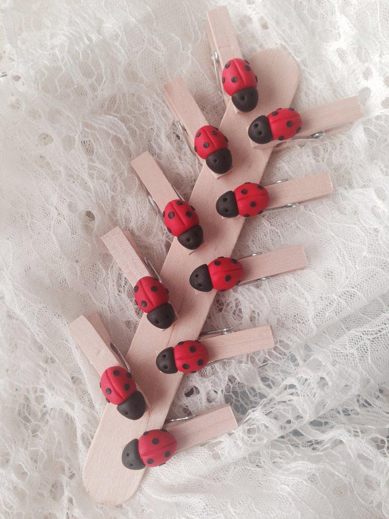 Mollette chiudipacco in legno con coccinella realizzata a mano in pasta FIMO