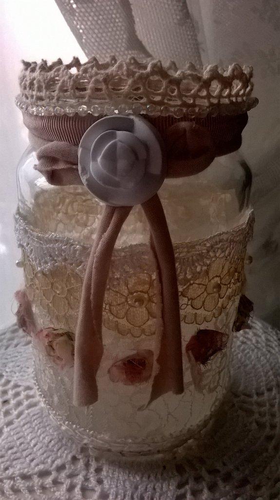 vaso in vetro decorato,ideale per portapenne