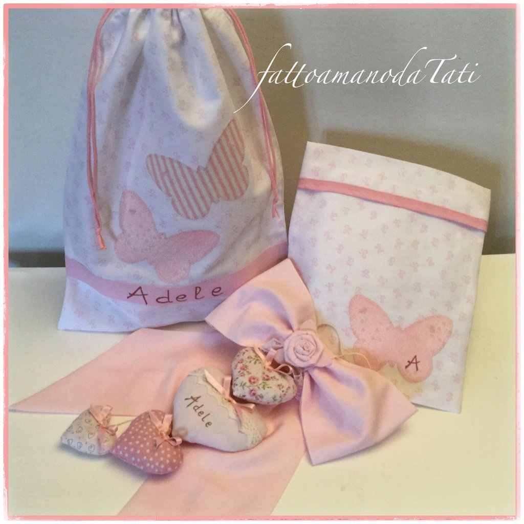 INSERZIONE RISERVATA PER DANIELA fiocco nascita,sacchettino e bustina per la piccola Adele