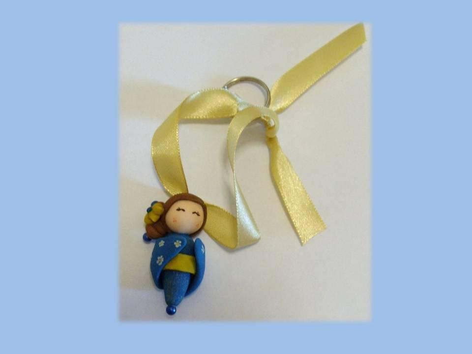 kokeshi doll gold-blue